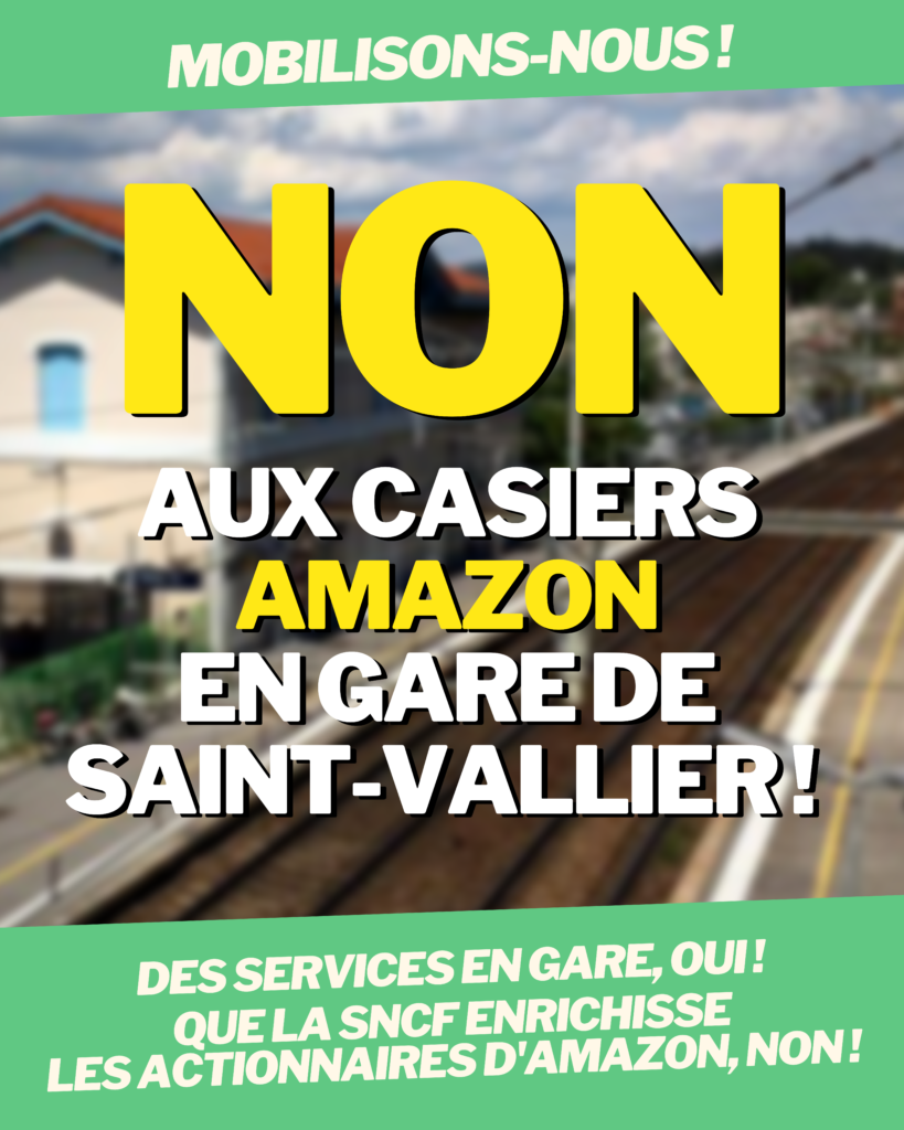 Mobilisation - Non aux casiers Amazon en gare de Saint-Vallier !